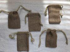 "(5""x 3"") Burlap Linen Jute Sack 5 Bags Drawstring Jewelry Wedding Gift Favor"