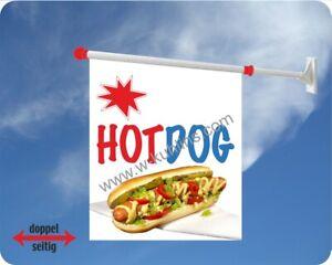 Flagge, Hot Dog, Imbiss, USA, Hotdog, Fastfood, Würstchen, Werbefahne, Kiosk