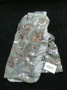 Etnika Scarf - Designer Handmade 100% Silk - Green Sequins Flowers - NWT RRP £49