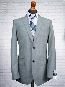 George Men's Suit Jacket 38L Grey Wool Check Single Breasted