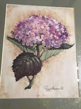 "Peggy Abrams Hydrangea Watercolor Print Signed Framed 16"" x 14""-SHIPS FREE"
