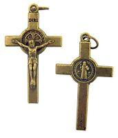 Patron Saint St Benedict of Nursia Cross 1 1/2 Inch Bronze Tone Crucifix Pendant