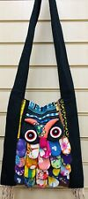 Fabric cross body Owl Design bag.