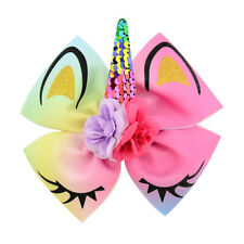 JOJO Siwa Large Kids Girl Hair Bow Clips Unicorn Party Meraid Dance Headwear q
