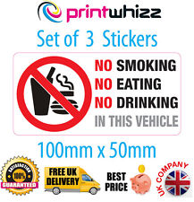 3 x NO Smoking Eating Drinking Sticker Printed Vinyl Label Taxi FREE Postage UK