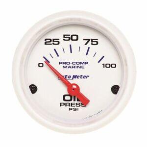 "Auto Meter 200758 Oil Pressure Gauge 2 1/16"", 100PSI, Electric, Marine White NEW"