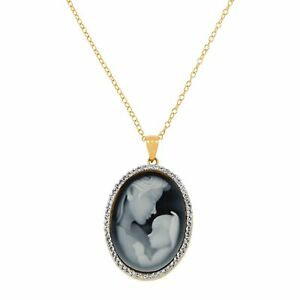Mother & Child Cameo Pendant w/ Swarovski Crystals in 18K Gold-Plated Silver, 18