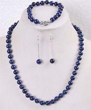 8mm Lapis Lazuli Round Beads Gemstone Necklace Bracelet Earrings set JN154