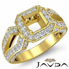 Diamond Engagement Filigree Ring Asscher Shape Semi Mount 18k Yellow Gold 1.4Ct