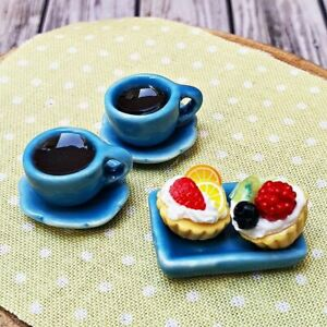Dollhouse Miniatures Food Bakery Cupcake Coffee Cup Set Tiny Supply Decoration