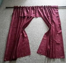 """Burgundy Floral Curtains/Draperies With Attached Valance 63"""" L x 78"""" Total Width"""