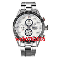 PAGANI design white dial date Full chronograph steel tachymeter mens WATCH N045