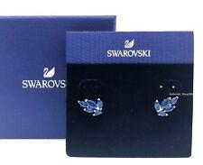 New SWAROVSKI Rhodium Blue Crystal Louison Leaf Pattern Earrings 5536549