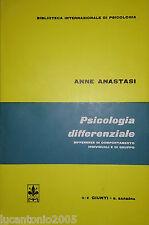 ANNE ANASTASI PSICOLOGIA DIFFERENZIALE ESPERIENZE... GIUNTI BARBERA 1972 INTONSO