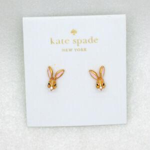 Kate Spade New York Jewelry18K Gold Plated bunny enamel rabbit stud earrings NWT