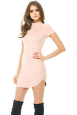 AX Paris Womens Bodycon Mini Dress Pink Faux Suede Short Sleeve Casual Party 12