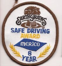 Merico truck driver patch Earth Grains safe driving award 8 year 3-1/2 X 3 #1526