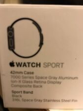 Apple Series 1 Watch 42mm space gray aluminum black sport band no reserve