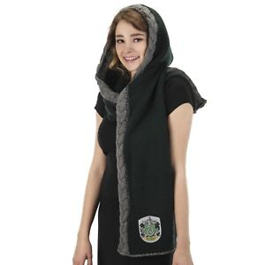 Womens Harry Potter Slytherin House Green Knit Hooded Scarf Merch Costume Gift