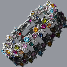 Women Round Multi-Color CZ White Gold Plated Tennis Statement Bracelet 7 inches