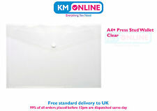 A4+ Plastic Document Wallets Foolscap Press Stud Closure Folder Filing Storage