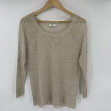 Madewell Womens Sweater Size XS Beige Tan Linen Crew Neck Lightweight R7