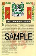 MCCUTCHEON Armorial Name History - Coat of Arms - Family Crest GIFT! 11x17