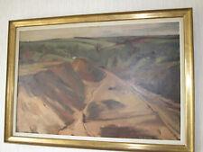 HOSLET huile sur toile - sablière paysage de campagne-peinture signée 79x119cm