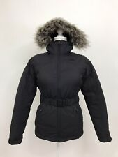The North Face HyVent Women's Parka Down Puffer Jacket Coat Hooded Fur Black XS