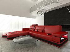Contemporary Leather Sectional Sofa Set MESSANA L Shaped with illumination