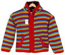 Nepal Strickjacke Regenbogen Gr.XL Nr.1 Ethno 100%Wolle FleeceFutter Kinder