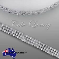 3 row 4mm stones- Pearl Crystal Rhinestone Diamonate Cake Trim Ribbon Mesh Chain