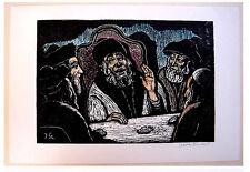 STEINHARDT Original HAND SIGNED Woodcut BEZALEL Judaica JEWISH HASSIDIM Israel