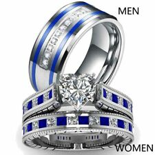 Couple Rings Blue Titanium Steel Men Ring Band Heart CZ Womens Wedding Ring Sets