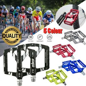 2X Fahrrad Pedale Aluminium Stahl Flach Anti-Rutsch MTB Rennrad e-Bike City Rad