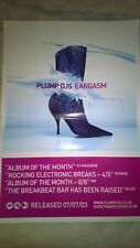 Plump Djs - Eargasm promotional poster - Finger Lickin Records - Breakbeat rave
