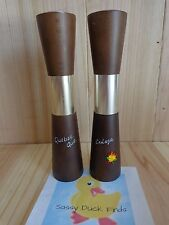 "Souvenir Salt and Pepper Shakers QUEBEC CANADA 6"" Wood Aluminum Made in Japan"