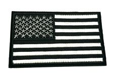 American Flag Embroidered Patch Black White Usa Us iron-on