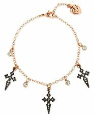 Betsey Johnson Rose Gold Silver Crystal Cross Ankle Bracelet NWT