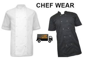 PLAIN NoText CHEF JACKET Short/Long Sleeve Unisex Chefs BlackWhite Kitchen Wear