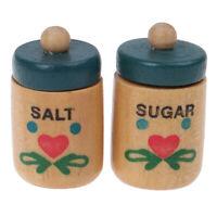 2Pc 1/12Dollhouse Wood Seasoning Pot Salt Pot+Sugar Pot Doll House Kitchen TBDA