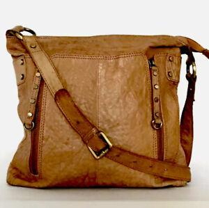 RIVER ISLAND Real Leather Tan Distressed Slouch Cross-Body Shoulder Bag Handbag