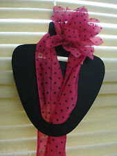 Narrow Scarf & Flower Clip Hair Accessory Pink/Black Polka Stocking Filler NEW