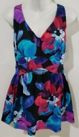 Maxine of Hollywood Empire Swimdress Plus Size One Pc Swimsuit Black Blue Floral