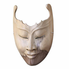 Hibiscus Wood Mask Sculpture Hand Carved Wall Decor 'Cutout' NOVICA Bali