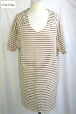 COTELAC - TUNIC DRESS M. SHORT STRIPES CREAM & OLD PINK T 1 = 38 - EX. CONDITION