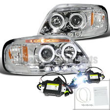 1997-2003 Ford F150 Expedition Halo LED Projector Headlight Chrome+6000K HID Kit