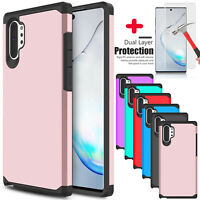 For Samsung Galaxy Note 10+ Plus 5G Case Armor Dual Layer With Screen Protector