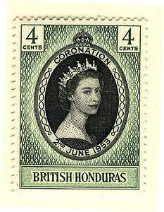 BRITISH HONDURAS 1953 CORONATION BLOCK OF 4 MNH