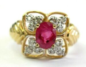 Oval Ruby & Diamond Cocktail Ring 14Kt Solid Yellow Gold 1.16Ct SIZEABLE